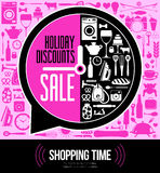 Vector illustration of Festive sales. Poster style big sales. Flat vector design Royalty Free Stock Photography