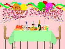 Vector illustration of a festive table Royalty Free Stock Photos