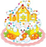 Easter cake with a bunny and its house. Vector illustration of a festively decorated pie with a small white rabbit, carrots and a toy lodge Royalty Free Stock Images