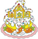 Easter cake with a bunny and its house. Vector illustration of a festively decorated pie with a small white rabbit, carrots and a toy lodge Stock Photography