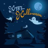 Halloween night background with ghosts, haunted house and full moon. stock illustration