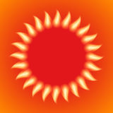 Vector illustration of a fiery sun.  Royalty Free Stock Photos