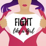 Vector illustration, Fight like a Girl. Card design Royalty Free Stock Photography
