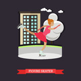 Vector illustration of Figure Skater at skating rink, flat style. Stock Image