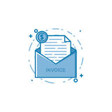 Vector illustration of filled bold outline open envelop with web page and coin icon. Graphic design concept of internet invoice, news money letter. Blue flat Royalty Free Stock Images
