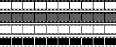 Film strip on white background. Vector illustration of film strips on white background - four types Stock Image