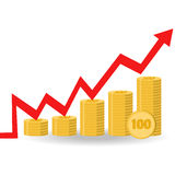 Vector illustration. Financial curve. Stacks of gold coins. Stock Image