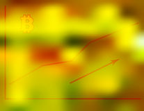 Vector illustration of the financial growth graph of digital bitcoin currency on a blurry red green gold background, technical tra. Ding concept Royalty Free Stock Image