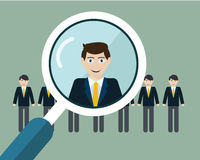 Vector illustration of finding professional staff with magnifying glass.  Stock Images