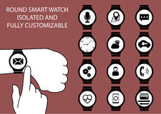 Vector illustration of finger swiping smart watch display on wrist with touch gesture. On marsala background. Multiple smart watch clock faces using flat design Stock Photo
