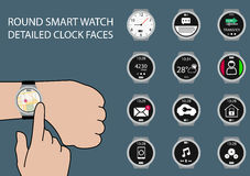 Vector illustration of finger swiping smart watch display on wrist with touch gesture. Multiple smart watch clock faces using flat design to customize the Stock Image