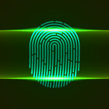 Vector illustration. Fingerprint double scanner green color designed for your app, ux project. Royalty Free Stock Photo