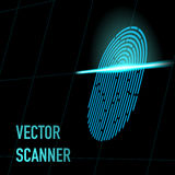 Vector illustration. Fingerprint scanner, blue color, 3d perspective with mesh. Hacker, security, data concept. Stock Image
