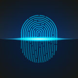 Vector illustration. Fingerprint scanner sign blue color designed for your app, ux project. Stock Image