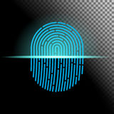 Vector illustration. Fingerprint scanner transparent sign blue color designed for your app, ux project. Fingerprint scanner transparent sign blue color designed Royalty Free Stock Photos