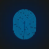 Vector illustration. Fingerprint sign blue color designed for your app, ux project. Royalty Free Stock Photography