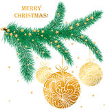 Vector illustration with fir-tree branch and gold balls. Vector illustration with golden Christmas tree toys on fir-tree branch. Merry Christmas card Royalty Free Stock Image