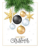 Vector illustration of fir-tree branches with hanging christmas ornaments and stars and greeting hand lettering label. Merry Christmas Royalty Free Stock Photo