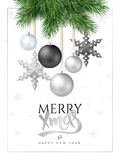 Vector illustration of fir-tree branches with hanging christmas ornaments and stars and greeting hand lettering label. Merry Christmas Royalty Free Stock Photography