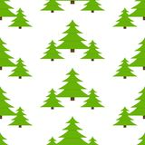 Fir-Tree Seamless Pattern. Vector illustration of fir-tree, isolated on white background. Christmas tree seamless pattern in flat style Royalty Free Stock Photography