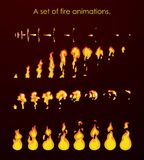 Fire animation sprites. A set of animations for a game or a cartoon. Vector illustration of fire animation sprites. A set of animations for a game or a cartoon Stock Images