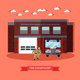 Vector illustration of Fire department and firefighters in flat style. Vector illustration of Fire department in flat style. Fire service, running firefighters Stock Photos