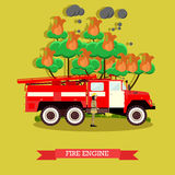 Vector illustration of fire engine in flat style. Vector illustration of fire engine. Fire truck and firefighter in fire protection suit and helmet design Stock Image