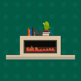 Vector illustration of fire in fireplace, flat style. Vector illustration of fireplace in flat style. Design element for interior design, fireplace with fire Stock Photo