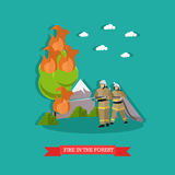 Vector illustration of fire in the forest in flat style. Firefighters in uniform fighting fire with water hose Stock Image