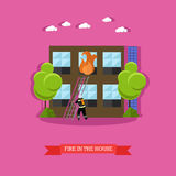 Vector illustration of fire in the house in flat style. Firefighter in uniform with extinguisher is going to climb ladder. Burning flame coming out from window Stock Photos