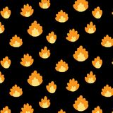 Vector illustration of fire pattern on black background.Abstract doodle wallpaper. Royalty Free Stock Image