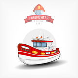 Vector illustration of a  firefighter  boat. Side view. Vector color handdrawn illustration of a  firefighter boat. Side view. Logo template, print on fabric Stock Photography
