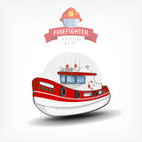Vector illustration of a  firefighter  boat. Side view. Vector color handdrawn illustration of a  firefighter boat. Side view. Logo template, print on fabric Stock Photo