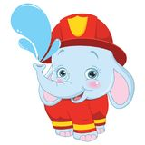 Vector Illustration of Fireman Elephant Royalty Free Stock Images
