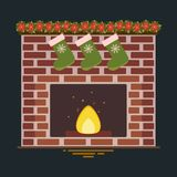 Vector illustration of fireplace stock illustration