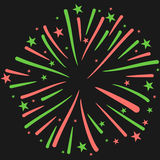 Vector Illustration of Firework on Black Background. New Year Celebration Stock Photography