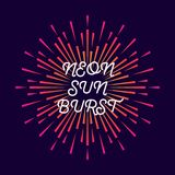 Vector Illustration firework explosion neon. Bright sunburst colorful style, star, rays of light.10 eps Stock Image
