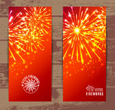 Vector Illustration of Fireworks. Banners set Royalty Free Stock Photos