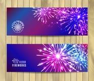 Vector Illustration of Fireworks. Banners set Stock Images