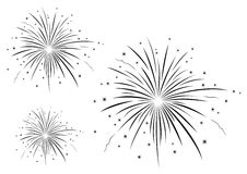 Vector illustration of fireworks black and white.  Royalty Free Stock Photos