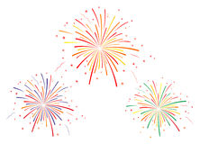 Vector illustration of fireworks black and white. On white background Royalty Free Stock Photo