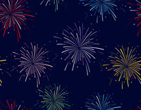 Vector illustration of fireworks on blue background. Seamless pattern Royalty Free Stock Photo