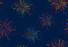 Vector illustration of fireworks on blue background. Seamless pattern. Holidays Stock Photo
