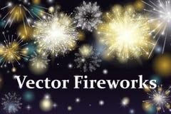 Vector Illustration of Fireworks. Colorful fireworks on the dark background Stock Image
