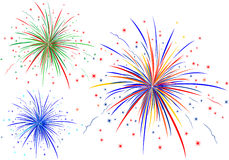 The vector illustration of fireworks Royalty Free Stock Photo