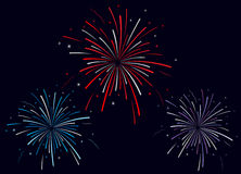 Vector illustration of fireworks Stock Images