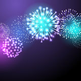 Vector illustration of fireworks. Festive colour firework background. Vector illustration for you design, web design, desktop wallpaper or website Royalty Free Stock Photography