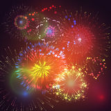 Vector illustration of fireworks and firecrackers. Vector illustration with colorful fireworks and fireworks Royalty Free Stock Photo