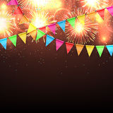 Vector illustration with fireworks and with a garland from flags and confetti. Beautiful vector background of festive night fireworks with flag garland and Stock Photos
