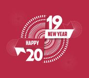 Vector illustration of fireworks. Happy new year 2019 background.  Stock Photos